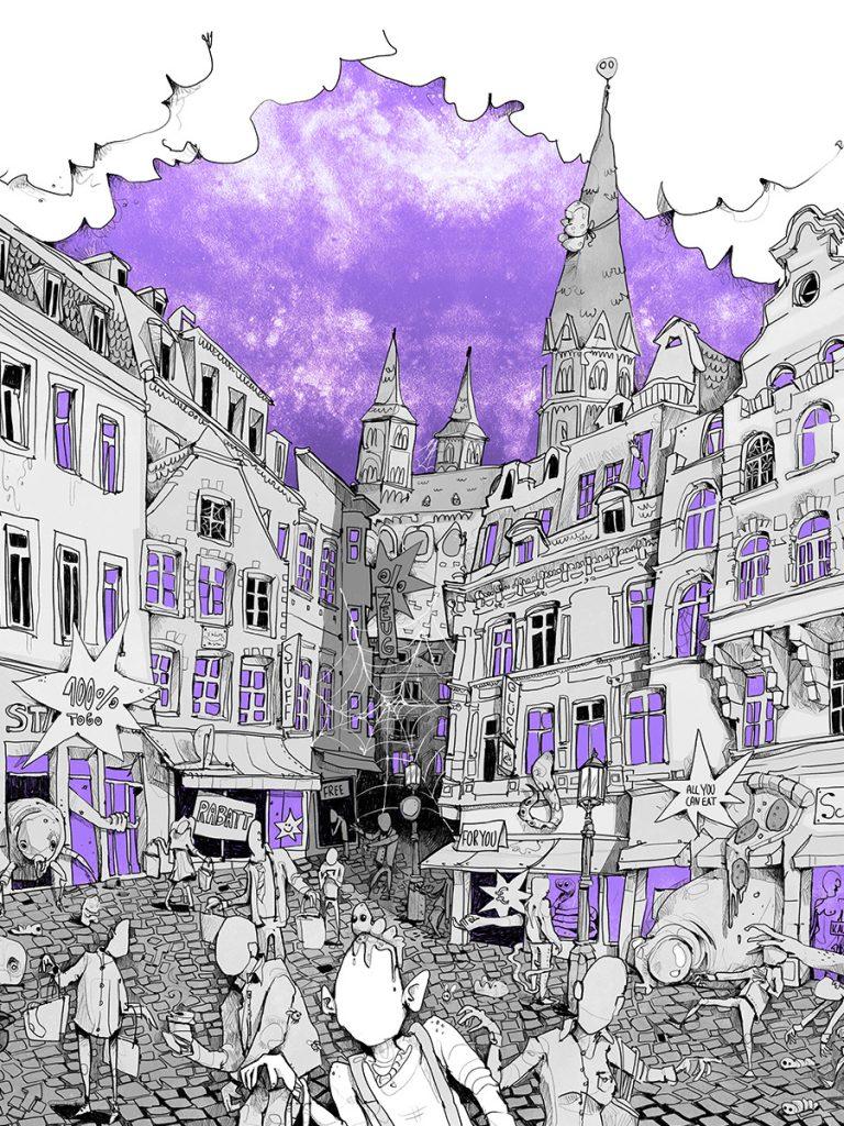 Stadtbild Bonn Illustration
